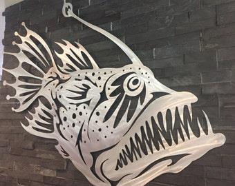 Angler Fish Metal Wall Art Home decor garden aluminum Metal fish art sculpture