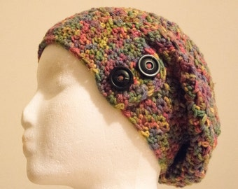 Rainbow Slouchy Hat with Buttons