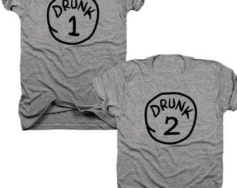 2-Pack Drink 1, Drunk 2 t-shirt set  (B039)