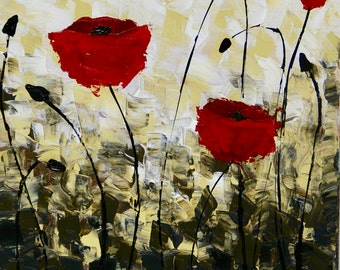 Original Abstract Red Poppy Flowers canvas art