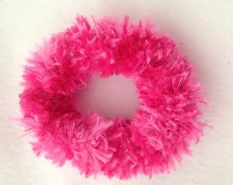 Crochet hair tie, crochet scrunchie, short fur crochet hair tie, short fur   crochet hair scrunchie