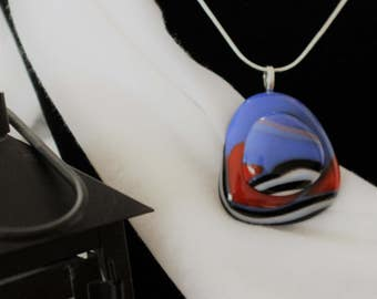 Fused Glass, Pendant, Blue, Red, White and Black, Unique Capachon, Something Special