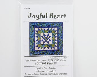 Quilting Pattern, Joyful Heart Quiltlet, 18 1/2' Square, Beginner Friendly, Easy Quilt Pattern, Paper Piecing Technique