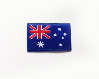 1x AUSTRALIAN flag patch - Australia island continent World Iron On Embroidered Applique logo blue white red