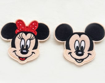 2X MINNIE & MICKEY Mouse patches custom Iron On Embroidered Applique cartoon black beige fun kid red bow dots