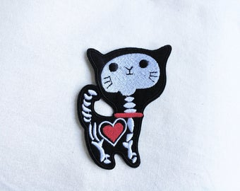 1x Kitty Skull patch - Heart cat X-ray skeleton black red white - Iron On Embroidered Applique
