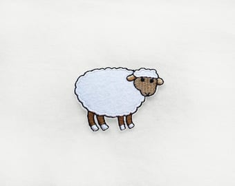 1x cute sheep patch -  Iron On  embroidered Applique white brown - kawaii - diy kid project