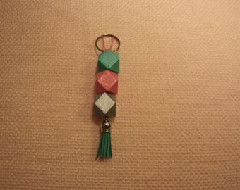 Pink Mint Metallic silver with Mint/Green tassel keyring bag tag,