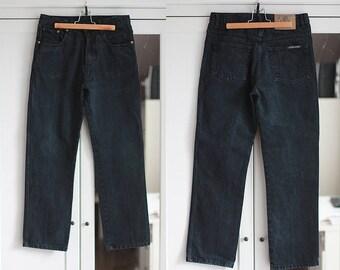 Jeans Vintage Black High Waisted Denim Pants Trousers Aztec Unisex Women Men Classic Fit 1980s Fashion Retro W30 L29 / Medium size