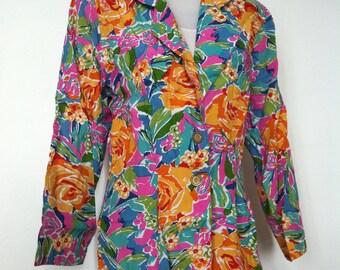 Vintage Baronesa Floral Summer Long Blazer Vibrant Colourful Flower Jacket / Size M