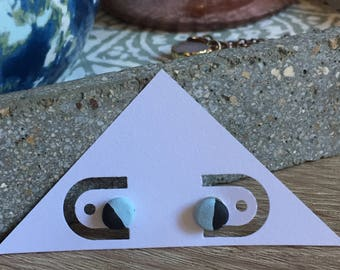 Matte Light Blue and Black Two-Toned Geometric Color-Block Earrings