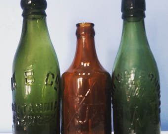 Antique bottles, vintage bottles, coloured glass, beer   bottles, Britannia brewery jewsbury, John waterhouse