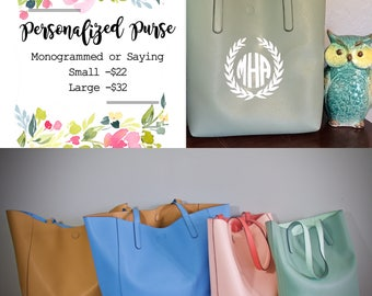 Leather Tote, Personalized