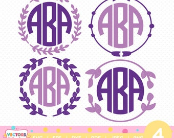 Floral Monogram Frames SVG, Monogram Frames Font, SVG Files, Monogram Frames Decoration Silhouette Cut Files, Cricut Cut Files