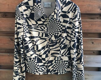 Joseph Ribkoff op print black and white graphic faux leather jacket S-M