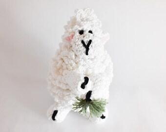 Darla the Crochet Sheep - Amigurumi - Stuffed Animal Kitchen Decor Dining Decor Farm Farmhouse decor Farm Animal Crochet Animal Yarn Lovers