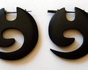 Earrings piercing spiral in ebony