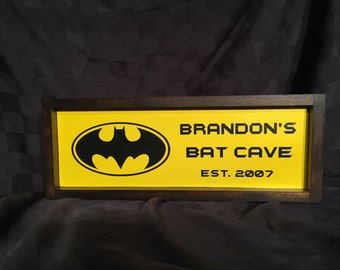 Personalized Bat Cave Wood Sign
