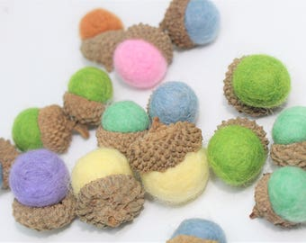 Pack of 20 Pieces Handmade Wool Felted Acorns, crafted felted acorns, craft supply, add Natural beauty to your home Decor, Assorted colors.