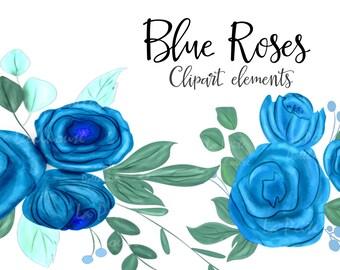 Blue rose clipart – Etsy