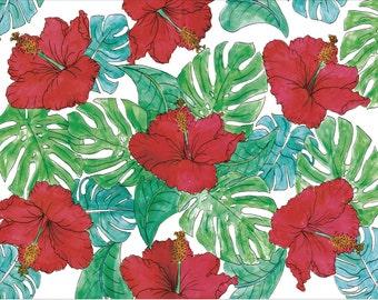 Hibiscus Illustration Print A4