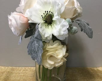 White Floral Arrangement with Glass Vase