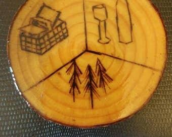 wood burned with garden logo jack pine coaster