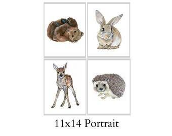 Set Of Four 11x14 Forest Animal Nursery Fine Art Prints - Automatic FREE Shipping - SKU109