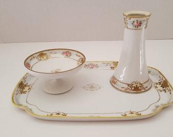 Antique Hand Painted Nippon M-in-Wreath Three Piece Porcelain Vanity Dresser Set