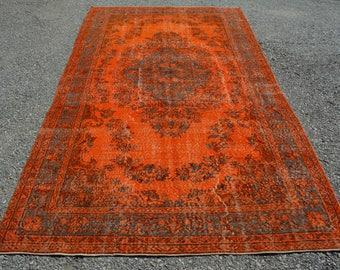 Turkish Overdyed Orange Decorative Rug Vintage Oushak Orange Rug 5.5 x 9.9 Ft