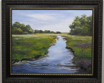 Original landscape painting of stream and field, water painting, river, springtime, acrylic art, green, blue water, golds, purples,meadow