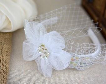 Short Hair Bridal Headband Vintage Short Hair Accessory  Bridal headpiece short hair veil Fascinator
