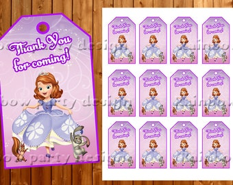 Sofia The First Thank you tags Thank you cards Birthday decorations Favor tags Sofia The First Party supplies printables Party favors