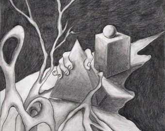 Authentic Surreal Painting in Charcoal