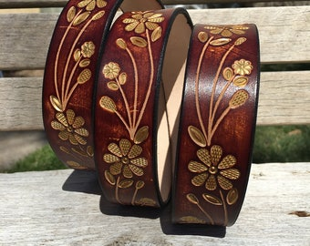 Custom Leather Belt, Tooled leather belt, Hand tooled floral pattern, Handmade Personalized Gift, Women's leather belt, Leather belt.