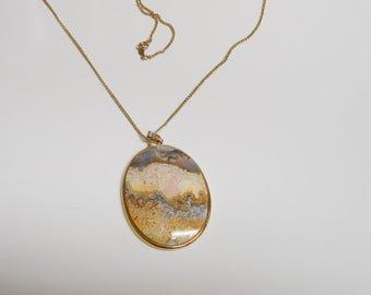 Agate necklace - polished agate - agate cabochon - oval pendant - pendant necklace