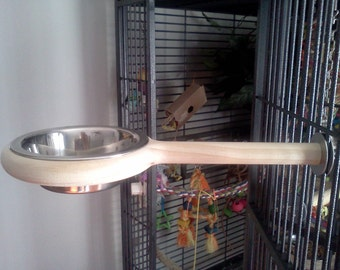 Bird Feeder Dish for Parrots and Sugar Gliders, great addition to any bird cage,Snack-N-Perch, bird bath, parrot perch, parrot toys