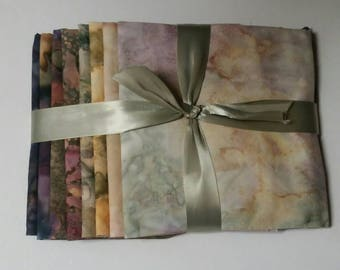 Batik Fat Quarters.  Set of 8.  FREE SHIPPING to U.S. only.