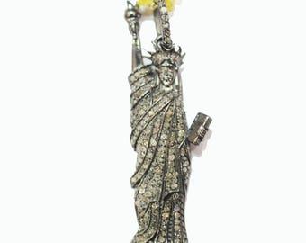 Genuine Diamond Pave Designer Statue of Liberty Shape Pendant Jewelry SterlingSilver 925 FashionCharmsJewelry