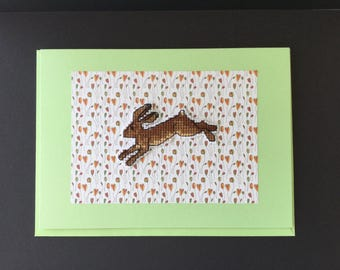 Running hare,  handmade, cross-stitched, blank , greetings card, birthday, thank you, animal.