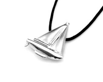Ocean Pendant, Nautical Jewelry, Yachting Gift, Sailing Boat, Gift For Sailor, Silver Boat, Ocean Jewelry, Nautical Pendant, Nautical Gift