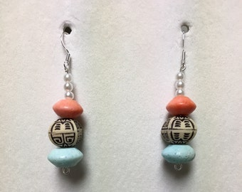 Handmade Orange/Teal Stone Tiki Wood Earings