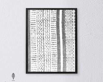 Tribal Patterns   Eco-friendly Printable Art Instant Download. Black and White Modern Minimalist Print. Abstract Wall Art Poster.