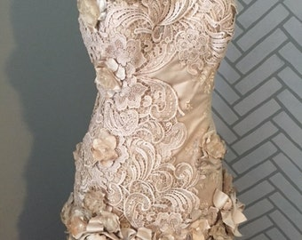 Handmade Champagne Mermaid Fit & Flare Vintage Lace Wedding Dress Size 8-10-12