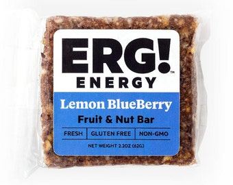 ERG! Lemon Blueberry (Box of 12) — Cold Pressed, Gluten Free, Organic, Non-GMO, Fresh, All Natural Fruit & Nut Bars — Handmade in Michigan