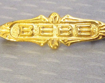 Edwardian antique new/old stock Paris FRENCH BEBE PIN goldplated baby brooch perfect for any doll!