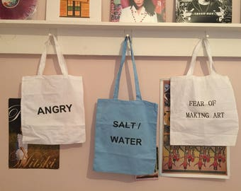 Fear of making art / angry tote bags
