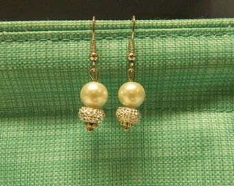 White Pearl and Sparkle earrings