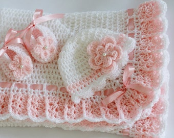 Crochet Baby Blanket Hat & Booties White Salmon Pink, Christening Baby Girl Set Baby Shower Gift Satin Ribbon Pearl Handmade by Hallien