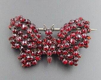 Antique sterling silver bohemian garnet studded butterfly brooch pin